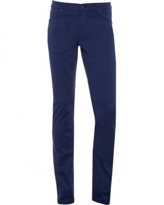 Mens Chino Jeans, Navy Blue Slim Fit Mid-Rise Jeans