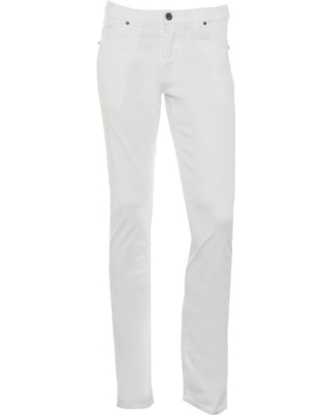 Versace Jeans Mens Chino Jeans, White Slim Fit Mid-Rise Jeans