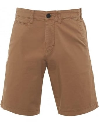 Mens Chino Shorts Beige Regular Cotton Twill Short