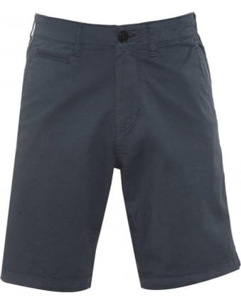 Mens Chino Shorts Blue Regular Cotton Twill Short