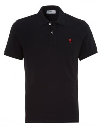 Mens Classic Cut Shirt, Chest Ami Heart Logo Navy Polo