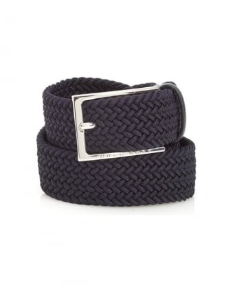 Mens Clori Belt Woven Leather Dark Blue Belt