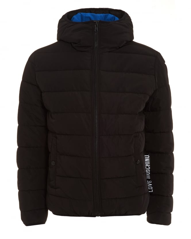 Love Moschino Mens Coat, Black Puffa Quilted Jacket