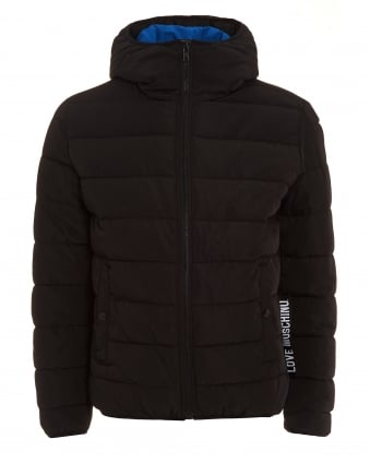 Mens Coat, Black Puffa Quilted Jacket