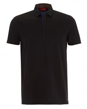 Mens Dellos Polo Shirt, Black Regular Fit Polo