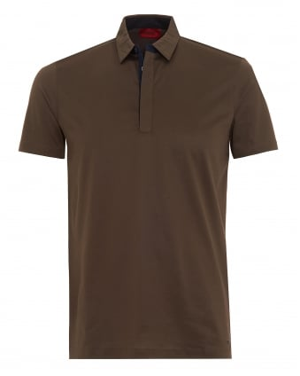 Mens Dellos Polo Shirt, Olive Green Regular Fit Polo