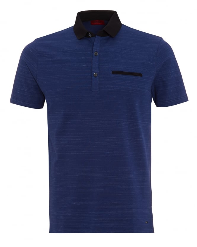 Hugo Boss - Hugo Mens Desaro Polo Shirt, Navy Dark Blue Striped Regular Fit Polo