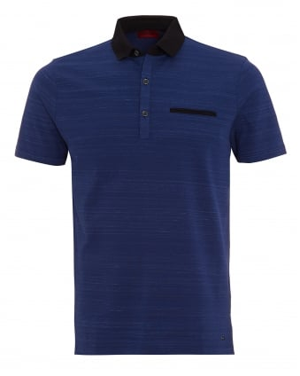Mens Desaro Polo Shirt, Navy Dark Blue Striped Regular Fit Polo