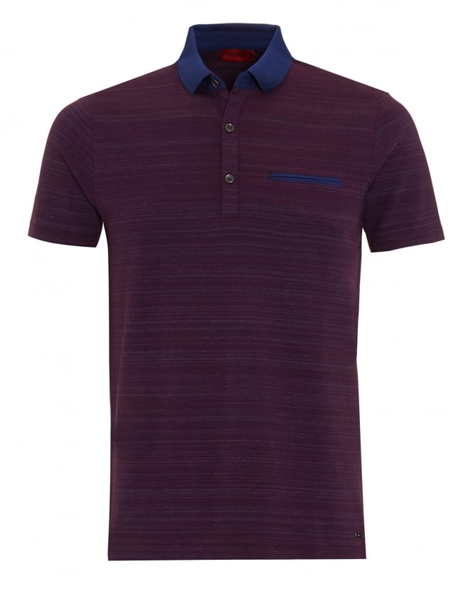 Hugo Boss - Hugo Mens Desaro Polo Shirt, Purple Striped Regular Fit Polo