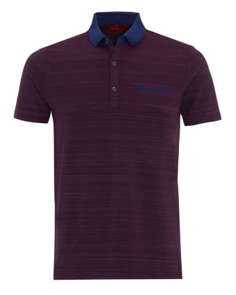 Mens Desaro Polo Shirt, Purple Striped Regular Fit Polo