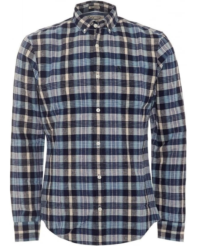 Original Penguin Mens Dorsey Shirt, Navy Blue Dark Sapphire Check