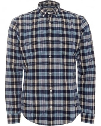 Mens Dorsey Shirt, Navy Blue Dark Sapphire Check