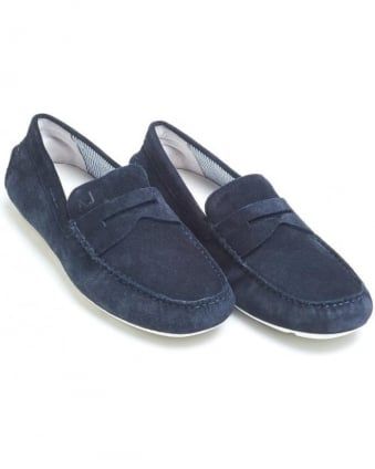 Mens Driving Shoes, Navy Blue Suede Penny Loafers