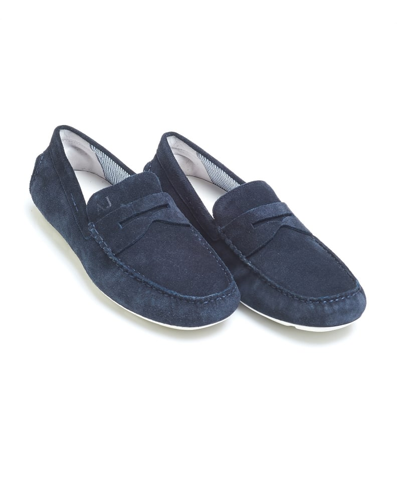 Armani Jeans Mens Driving Shoes, Navy Blue Suede Penny Loafers