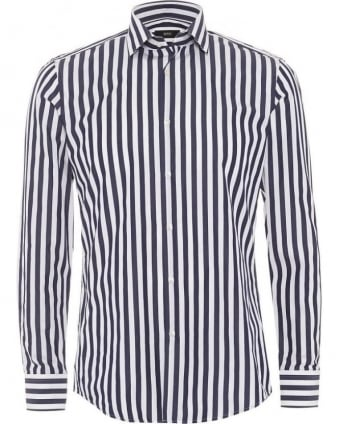 Mens Dwayne Shirt, Slim Fit Dark Navy Blue Vertical Stripe
