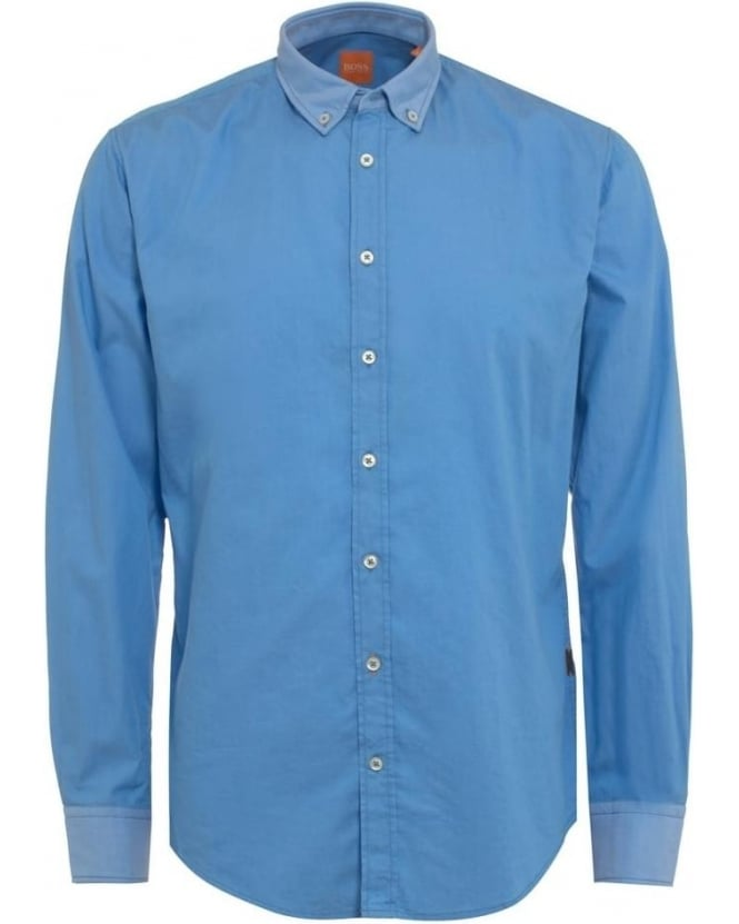 Hugo Boss Orange Mens EdipoE Shirt, Plain Blue Button Down