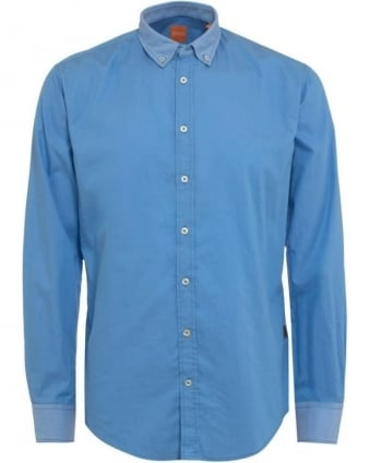 Mens EdipoE Shirt, Plain Blue Button Down
