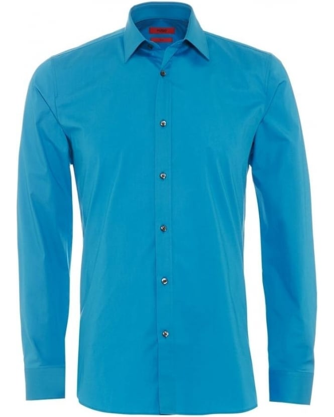 Hugo Boss - Hugo Mens Elisha Shirt, Slim Fit Turquoise Blue Shirt