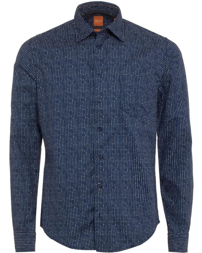 Hugo Boss Orange Mens EnameE Shirt, Dark Blue Speckled Polka Dot Slim Fit