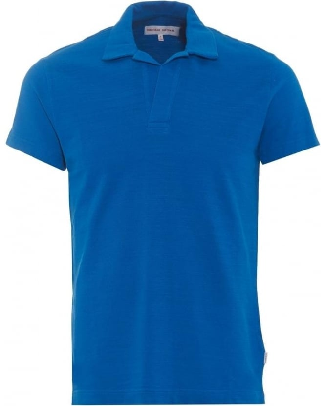 Orlebar Brown Mens Felix Polo Shirt, Butterfly Blue Melange Polo