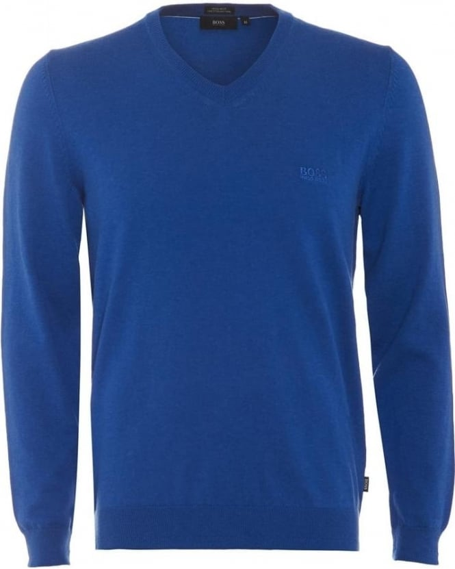Hugo Boss Black Mens Filipp Jumper Blue V-Neck Knitted Sweater
