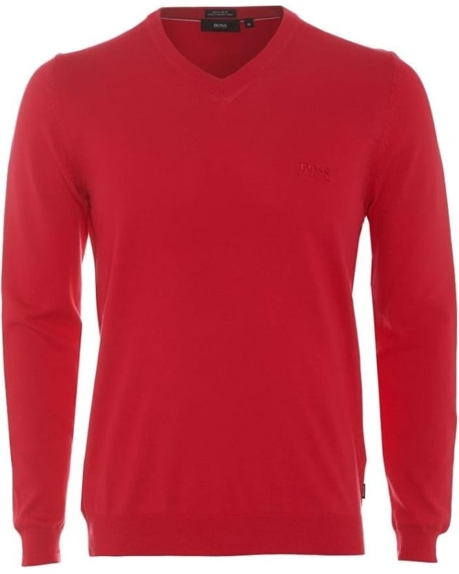 Hugo Boss Black Mens Filipp Jumper Red V-Neck Knitted Sweater