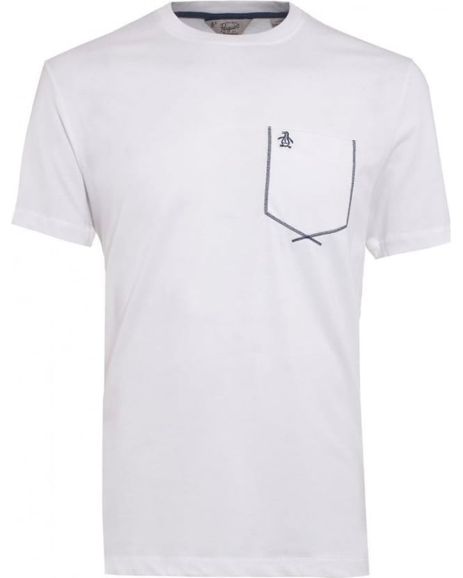 Original Penguin Mens Flatlock T-Shirt, White Pocket Graphic Tee