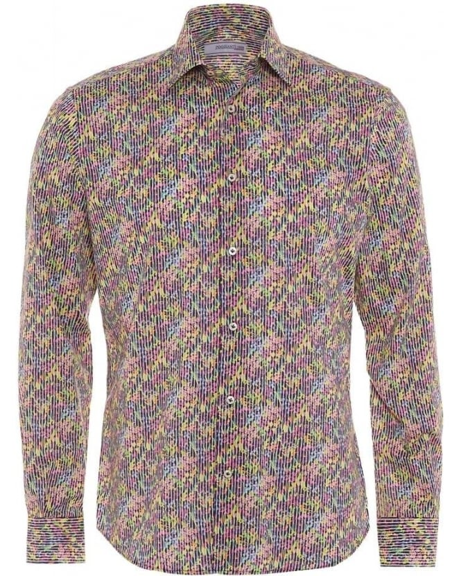 Poggianti Shirts Mens Floral Print Slim Fit Cotton Shirt