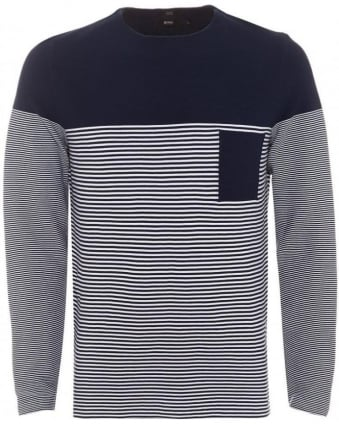 Mens Garwood Jumper, Navy White Striped Slim Fit Sweater