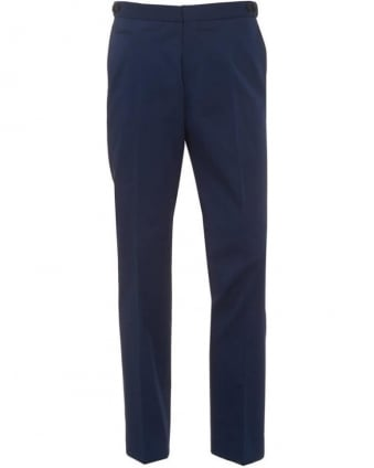 Mens Grainy Chinos, Navy Blue Slim Fit Trousers