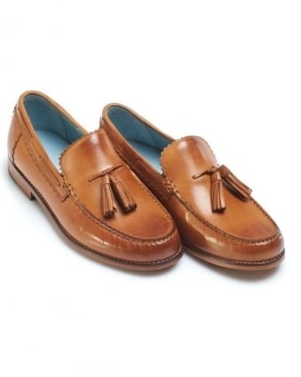 Mens Grayson Moccasins, Burgundy Tan Leather Tassel Loafer