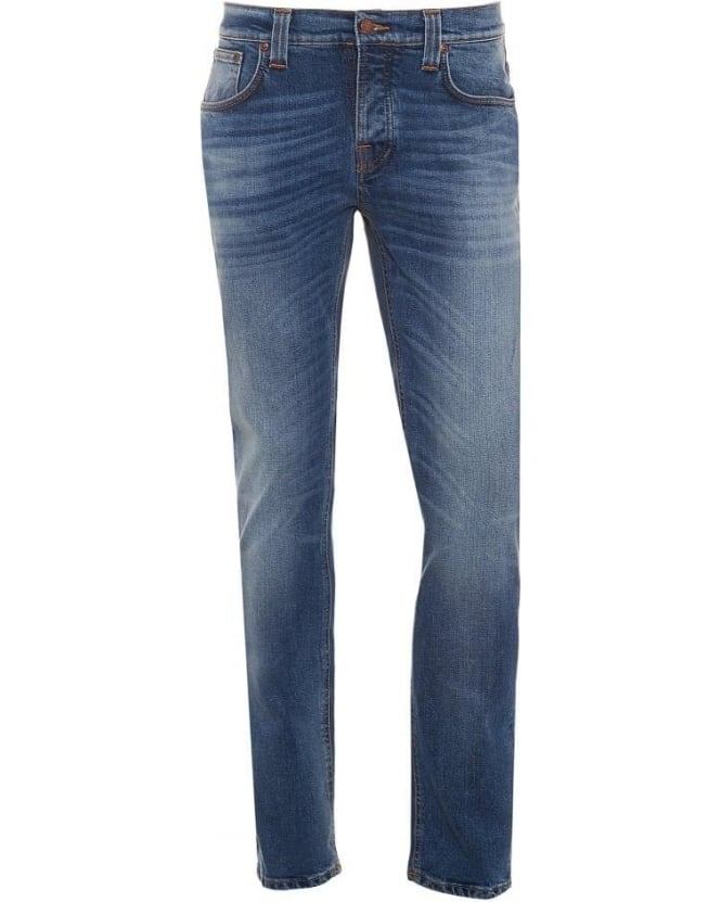 Nudie Jeans Mens Grim Tim Jean, Best Coast Blues Organic Stretch Denim