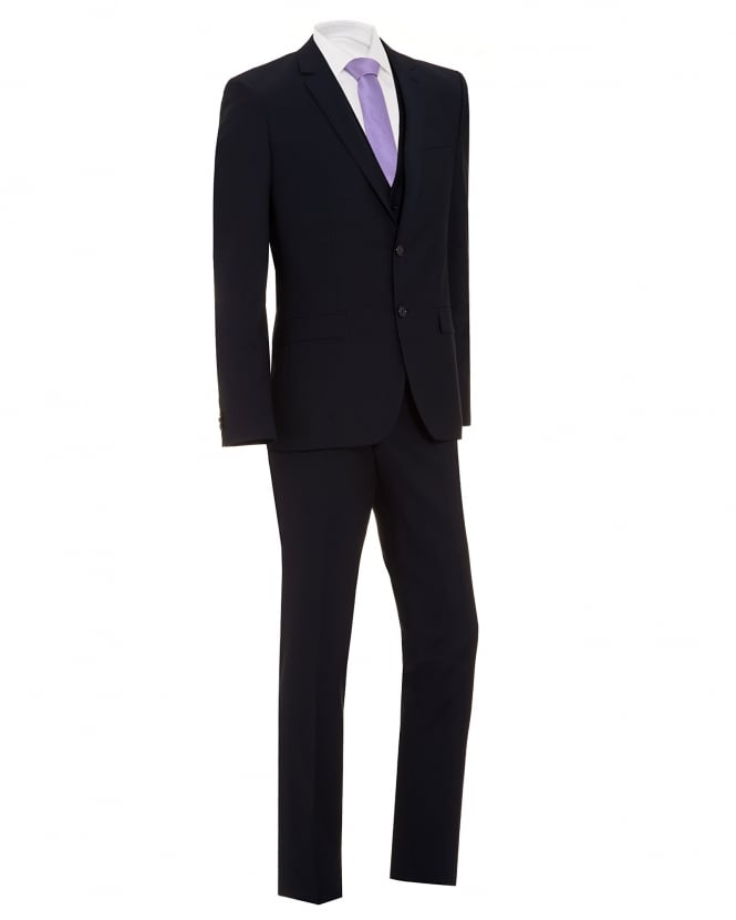 Hugo Boss - Hugo Mens Hetlin Suit, Navy Blue Three Piece Wool Suit