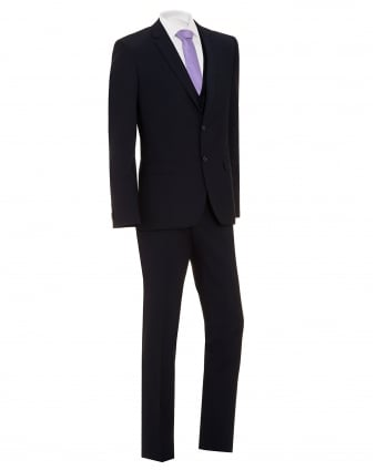Mens Hetlin Suit, Navy Blue Three Piece Wool Suit