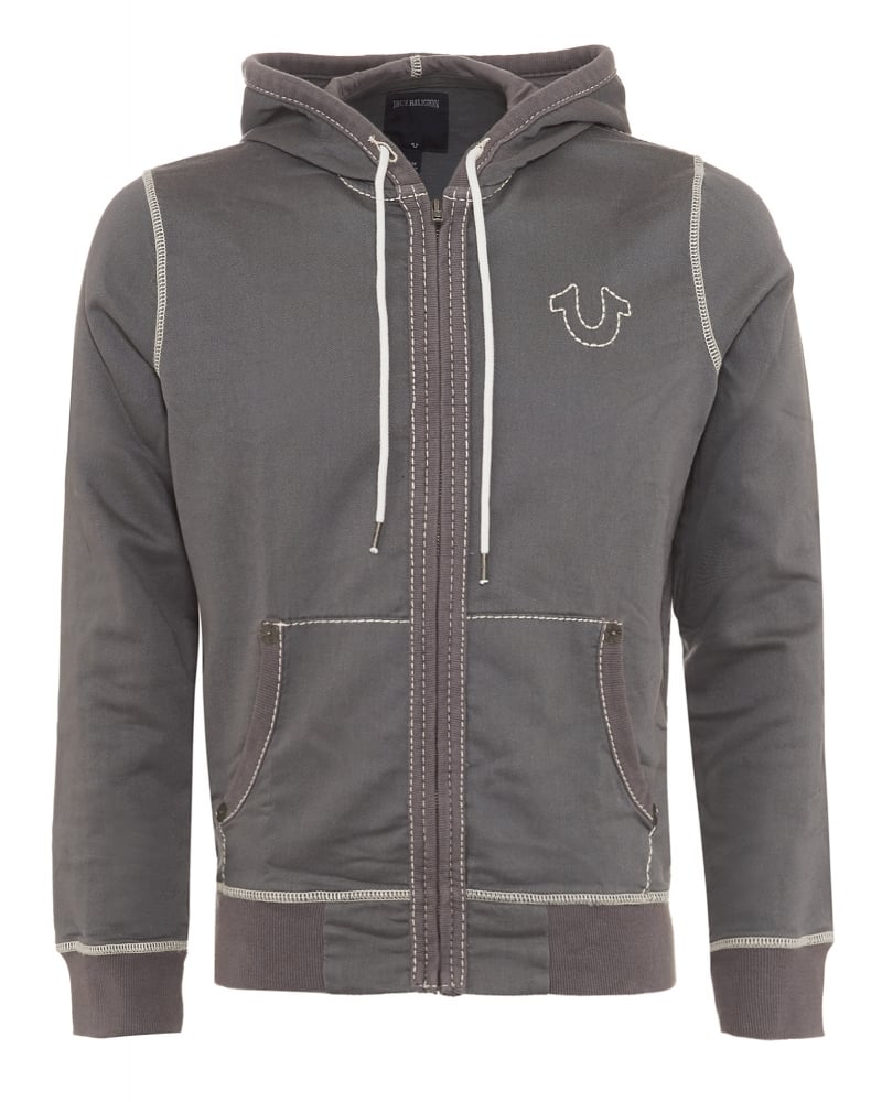 true religion mens hoodie big t horseshoe triple stitch grey track top. Black Bedroom Furniture Sets. Home Design Ideas