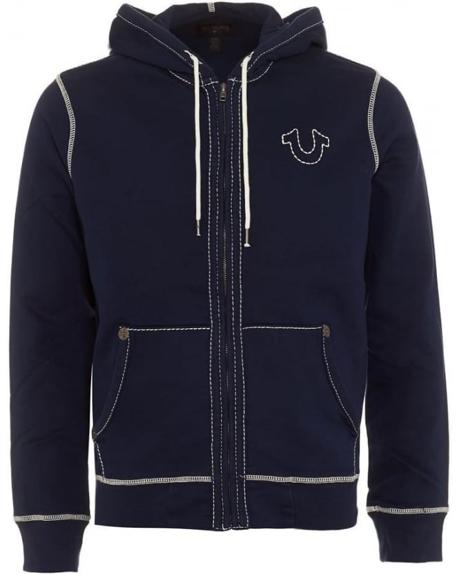 True Religion Jeans Mens Hoodie Big T Horseshoe Triple Stitch Navy Blue Track Top