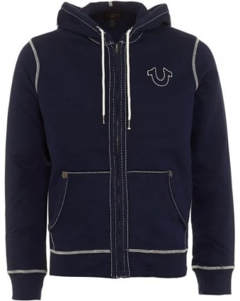 Mens Hoodie Big T Horseshoe Triple Stitch Navy Blue Track Top