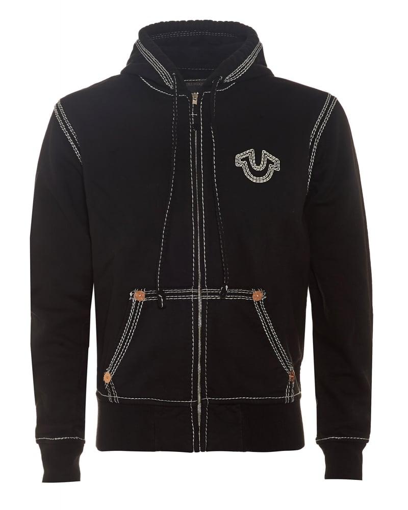 true religion mens hoodie black triple stitch big t horseshoe sweat. Black Bedroom Furniture Sets. Home Design Ideas