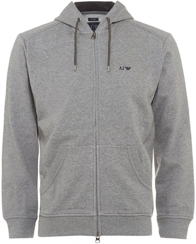 Armani Jeans Mens Hoodie Comfort Fit Grey Zip Through Sweatshirt