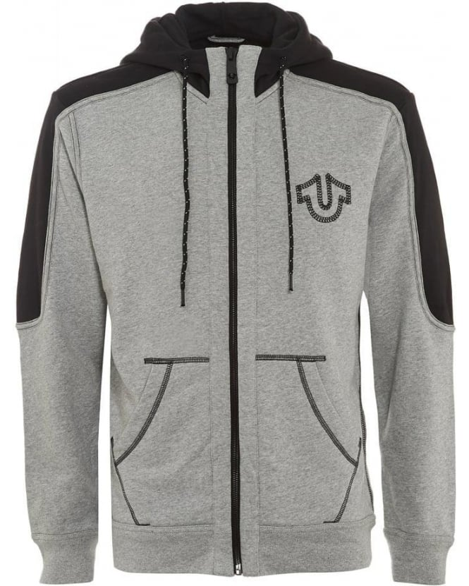 True Religion Jeans Mens Hoodie Reflect Marled Grey Heather Zip Through Sweat