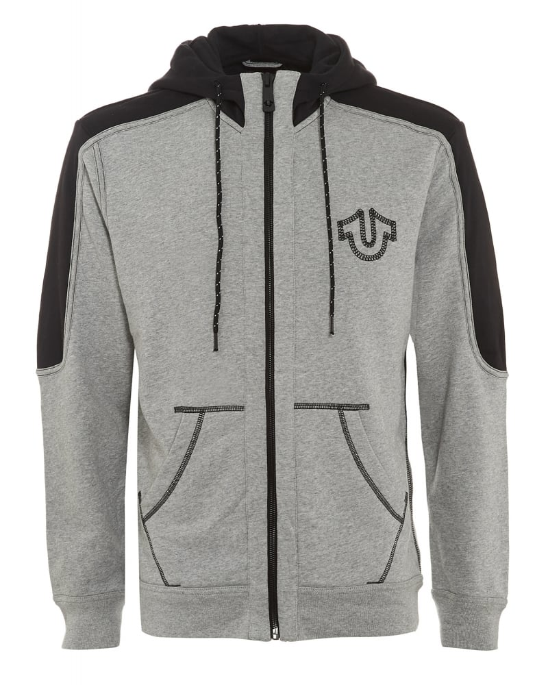 true religion mens hoodie reflect marl grey heather zip through sweat. Black Bedroom Furniture Sets. Home Design Ideas