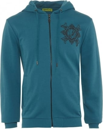 Mens Hoodie Regular Fit Chest Logo Blue Sweat