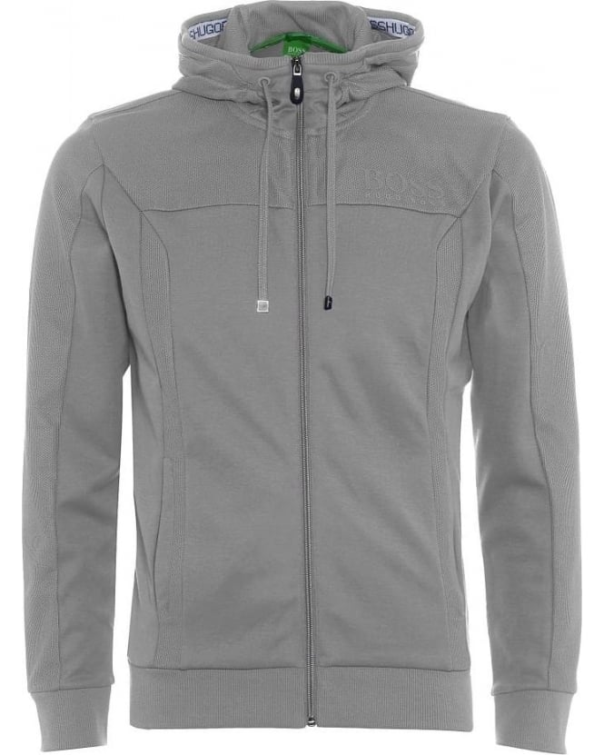 Hugo Boss Green Mens Hoodie Saggy Light Grey Zip Through Sweatshirt