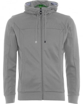 Mens Hoodie Saggy Light Grey Zip Through Sweatshirt