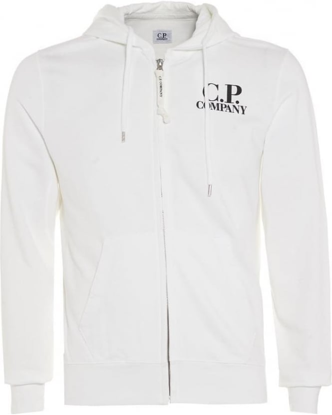 C.P. Company Mens Hoodie, White Logo Zip Up Hooded Sweatshirt