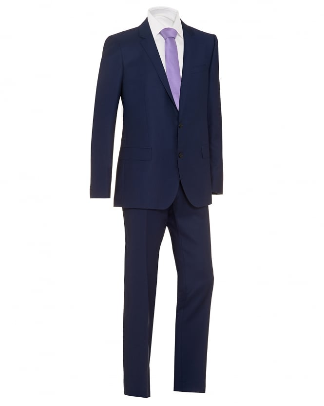 Hugo Boss Black Mens Huge Genius Suit, Blue Textured Suit