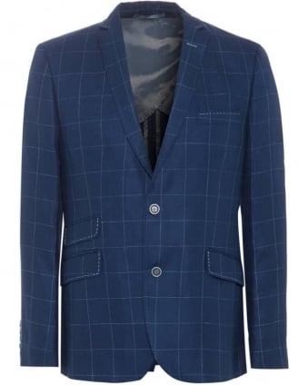 Mens Jacket Denim Blue Windowpane Trend Blazer