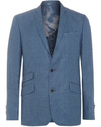 Mens Jacket Dogtooth Powder Blue Trend Blazer