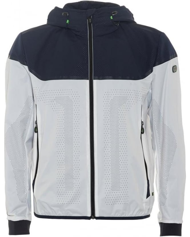 Hugo Boss Green Mens Jaxton Jacket, Navy White Perforated Bomber