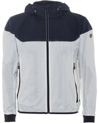 Mens Jaxton Jacket, Navy White Perforated Bomber